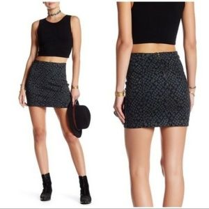 Free People Skirt Mini Printed Modern Femme Indigo